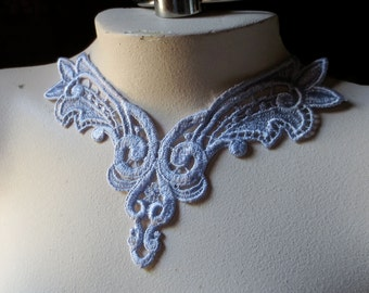 Lace Applique in Periwinkle Gray Venise Lace for Jewelry Supply, Altered Couture, Sewing CA 197pg