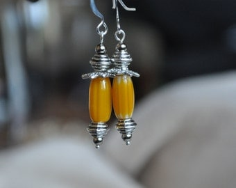 Yellow  Chevron Lantern Earrings