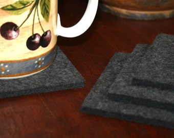 Square Drink Coasters in 5mm Thick Virgin Merino Wool Felt Fabric Eco Friendly, Sustainable Housewarming Hostess Gifts Felted Barware