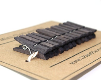 Mini Clothespins - Set of 12 - Pewter