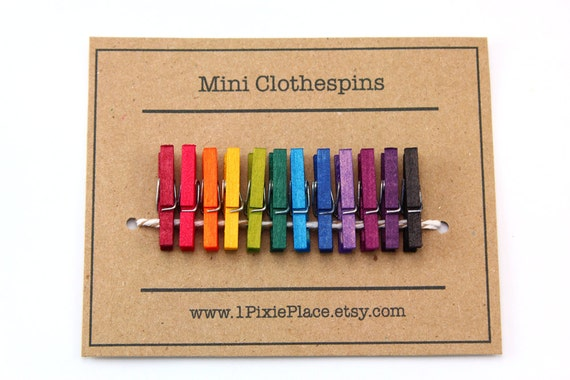 Rainbow Mini Clothespins - Set of 12