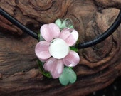 Hancrafted Flower Lampwork Pendant on Leather Cord Necklace