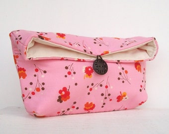 Pink Clutch Purse, Bridesmaid Gift, Bubblegum Pink, Floral Clutch, Bridesmaid Clutch, Makeup Bag, Gift Under 25, Cosmetic Bag
