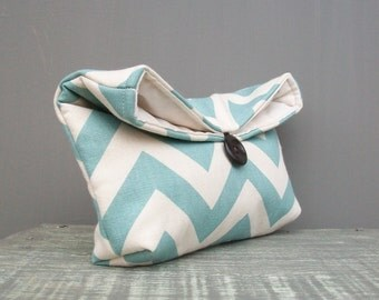 Light Aqua Blue and Natural Ivory Chevron Clutch Purse, Bridesmaid Gift, Bridesmaid Clutch