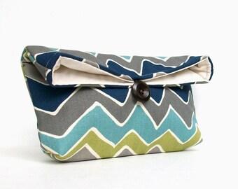 Navy Blue Chevron Clutch, Gray Zigzag Clutch, Green, Charcoal, Teal, Chevron Makeup Bag, Bridesmaid Gift