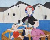Three Generatios in Fishing Village - Erotic Village Folk Art Painting 10x10 inches