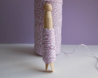 20 Yards Orchid Purple Bakers Twine on a Clothespin --Packaging-Crafts-Favors-Tags-Cards-Baby Shower-Wedding Shower-Bake Sale-Ready to Ship