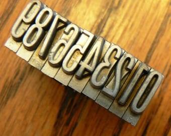 vintage letterpress ... PRINTERS TYPEFACE NUMERIC 0 to 9 Grp B 7 2  is 10 pce