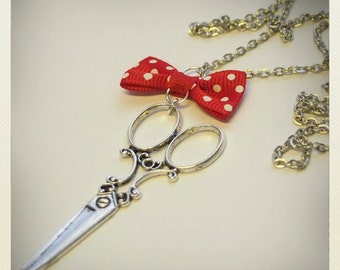 Pin up style Retro Vintage scissors necklace with red bow