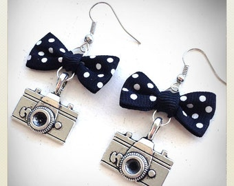 Old School Vintage retro style Pin Up camera earrings, black bow