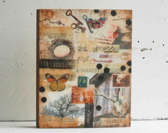 NATURE Original Encaustic Mixed Media Painting Butterfly Nest Deer Nature Tree Barn Rustic Collage