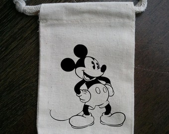 Classic Mickey Mouse Hands on Hips Muslin Party Favor Bag