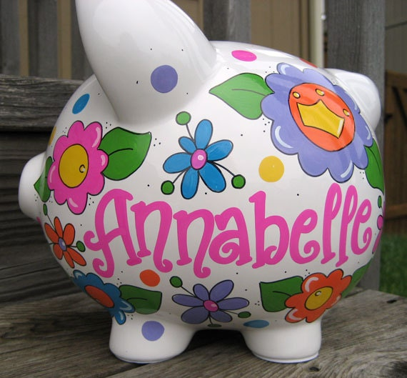 Personalized Piggy Bank-Custom-Large- Bright Logan Flowers