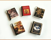 Gothic Classics Mini Book Charms Set of all 5 Steampunk Spooky Inspired Halloween