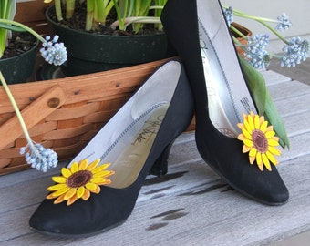 Sunflower Shoe Clip, or Pin  Embroidered Freestanding Lace