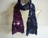 1920s Sequin Flapper Scarf  Indigo and Purple JAZZ Era - decotodiscovintage