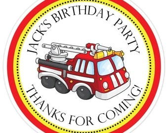 Fire Engine Birthday Labels, Fire Truck Birthday Stickers, Personalized Fire Engine Stickers, Fire Truck Favors, Fire Engine Party Favors