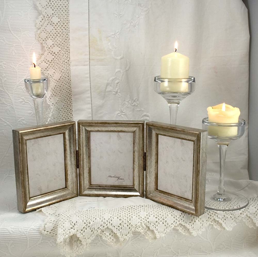 Hinged triptych silver photo frame in deluxe narrow simple for Living room 4x5