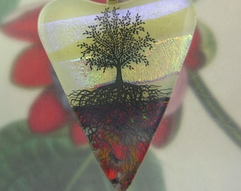 Autumn Leaves Tree of Life Heart Pendant, Fused Glass Jewelry Hanmade in North Carolina