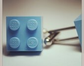 Made from Lego (r)  2x2 Medium Blue Brick Cufflinks