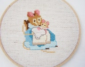 SALE Beatrix Potter Hoop Art, Hand Embroidery, Cross Stitch Sampler, Cottage Chic, Nursery Wall Decor, Hunca Munca