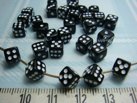 LAST Pack / sale -10% / 6 x 6 x 6 mm - Mixed Colors of Acrylic Dice Beads with Diagonal Hole.