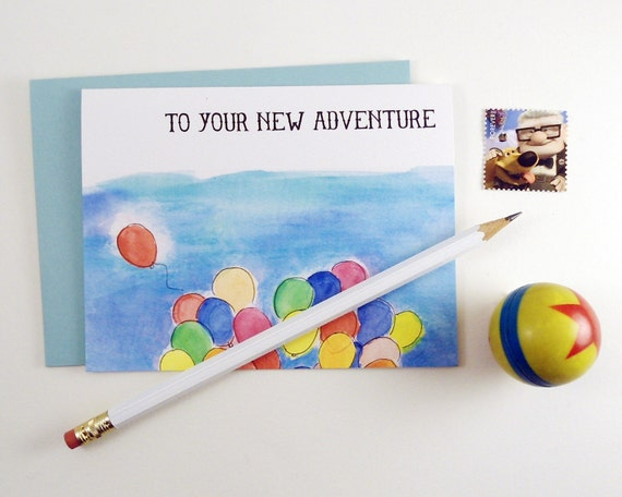 To Your New Adventure Greeting Card - UP inspired - Bright and colorful balloons for congratuations, baby showers, wedding, graduation