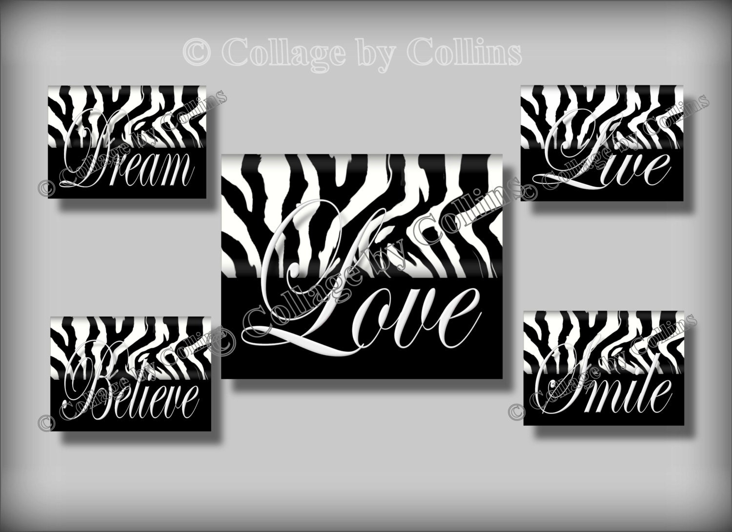 Zebra Print Black White Wall Art Girl Teen Room Decor Smile