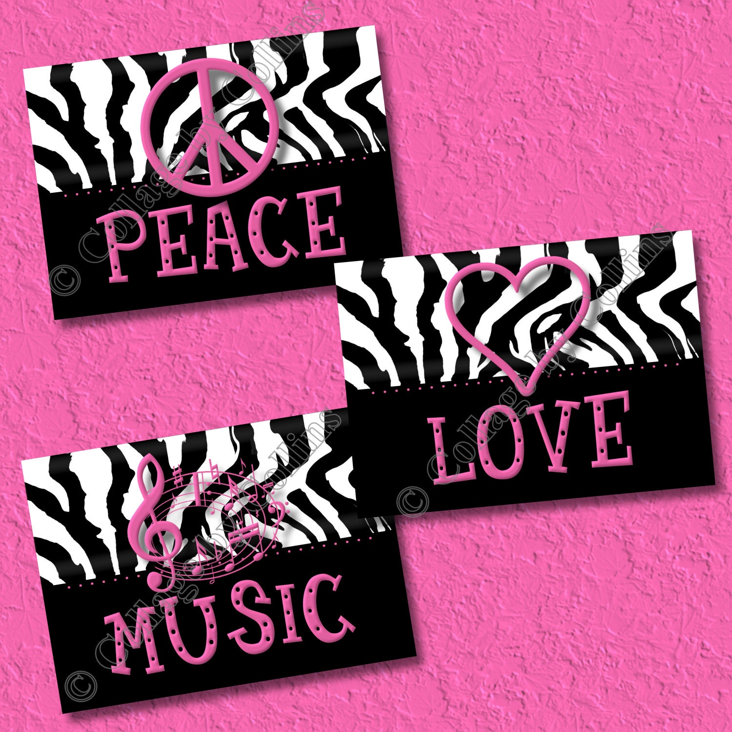 Hot pink zebra print art wall decor peace sign love music for Zebra print and red bathroom ideas