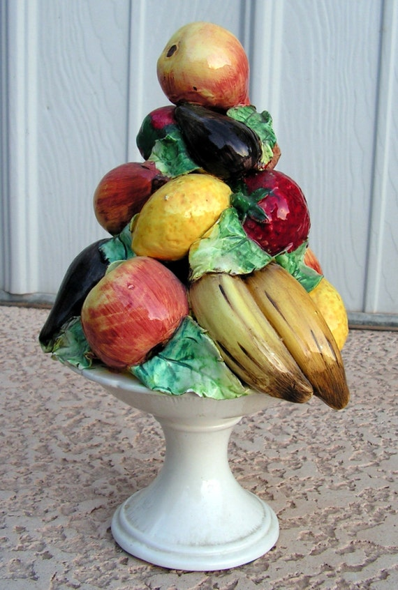 Vintage Ceramic Fruit Centerpiece Pottery Fruit By