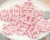 34mm Striped Anchors Resin Charms or Pendants - Pink - 5 pc set