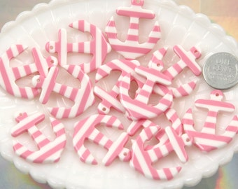 34mm Striped Anchors Resin Charms or Pendants - Pink - 6 pc set