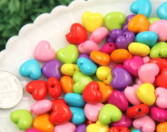 Heart Plastic Beads - 10mm Cute Puffy Hearts Resin or Acrylic Beads, mixed color, small size beads - 100 pc set