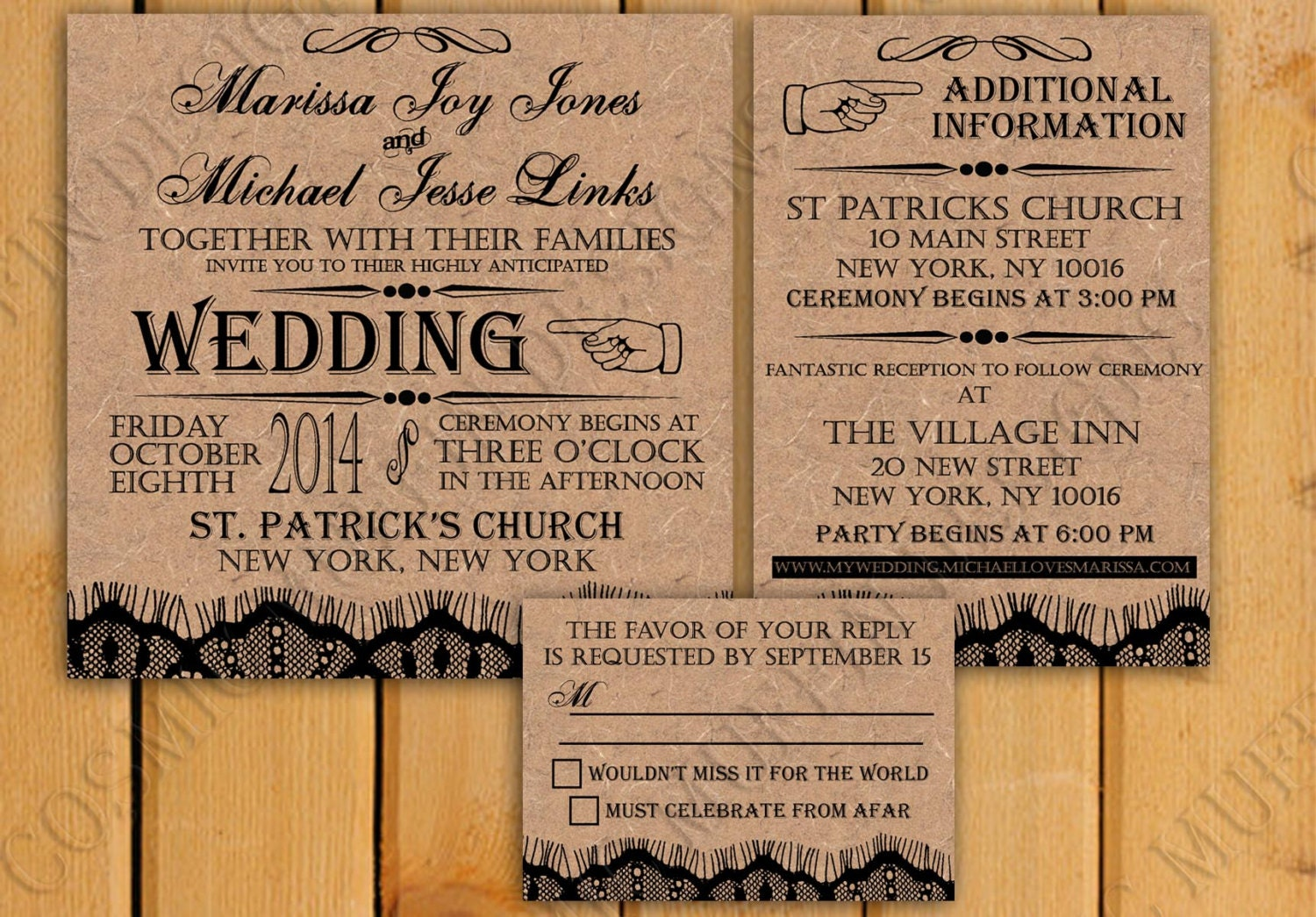 Extra Information For Wedding Invitations: Rustic Wedding Invites Package