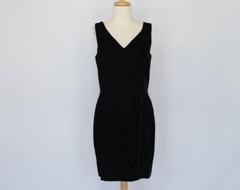80's / 90's Black Velvet Mini Dress / Sleeveless Dress / Tommy Hilfiger / Small