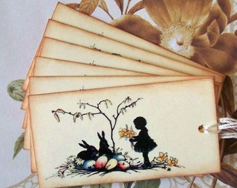 Tags Easter Bunny Silhouette Vintage Style Party Favor Handmade TE002