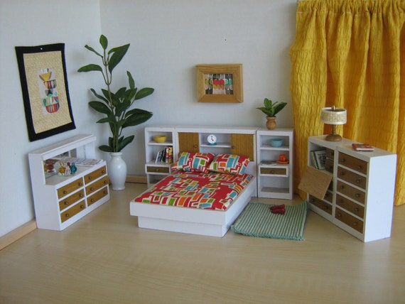 Miniature Mid Century Modern Dollhouse Bedroom Set By