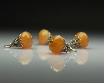 Vintage Style Bead Dangles Brown Opal Glass Set of Four BR39