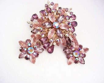 "HUGE statement Fruit salad Brooch and earrings OVER 3"" riveted backs"