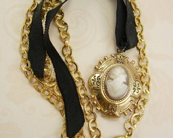 Antique CAMEO locket enamel mourning necklace Victorian Jewelry