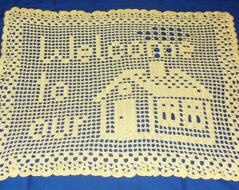 Welcome to our home - ready to ship - crocheted