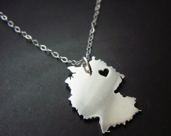 Sterling Silver Germany Pendant Necklace Personalize the Location of the Heart over the City of Your Choice