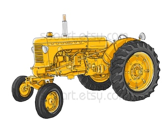 Yellow Tractor vintage-Original Illustrate Drawing  A4 Print transfer on Pillows, t-shirts, scrapbook, lampshades  ETC.v