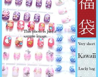 Lucky bag, grabby bag, mystery, discount, sale, fake nails, false nails, kawaii, Japanese nail art