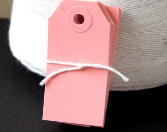 25 Mini Manilla Parcel Shipping Tags in Pink . Size 1 (2 3/4 x 1 3/8)