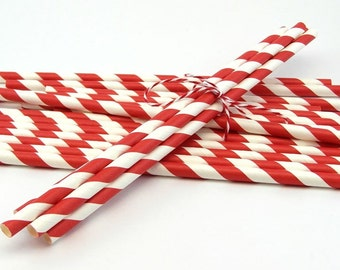 25 Red Striped Paper Straws with Printable Party Flags PDF File