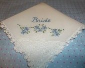 reserved for FATIMA/something blue wedding handkerchief, hand embroidered, bride with flower swag, bouquet wrap, white hanky,
