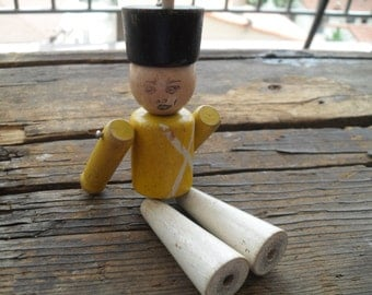 Vintage Wooden Toy Solider 40s 50s Miniature Military