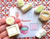japanese tea party stamp set.  matcha green tea hand carved rubber stamp. japanese traditional arts. gift wrapping. scrapbooking. set of 7