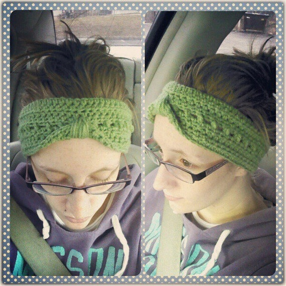Handmade Olive Green Crochet Ear Warmer Headband - turban style